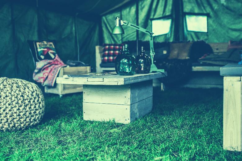 furniture inside a tent
