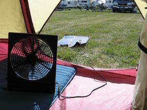 fan inside tent