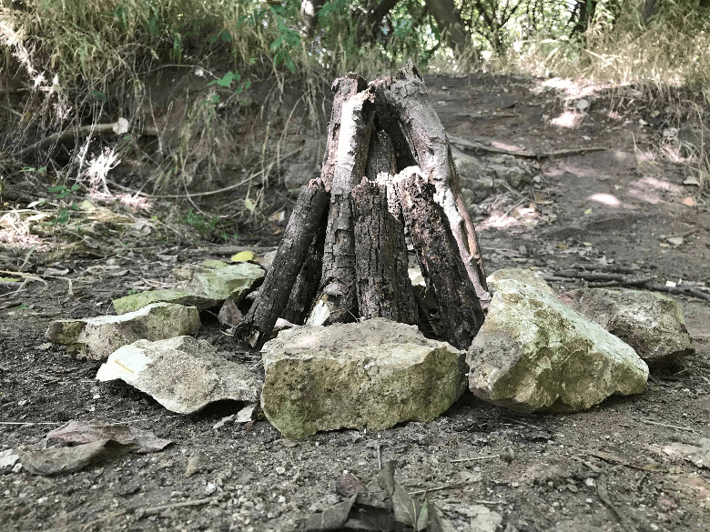 firewood in teepee formation
