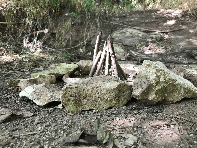 kindling in teepee formation