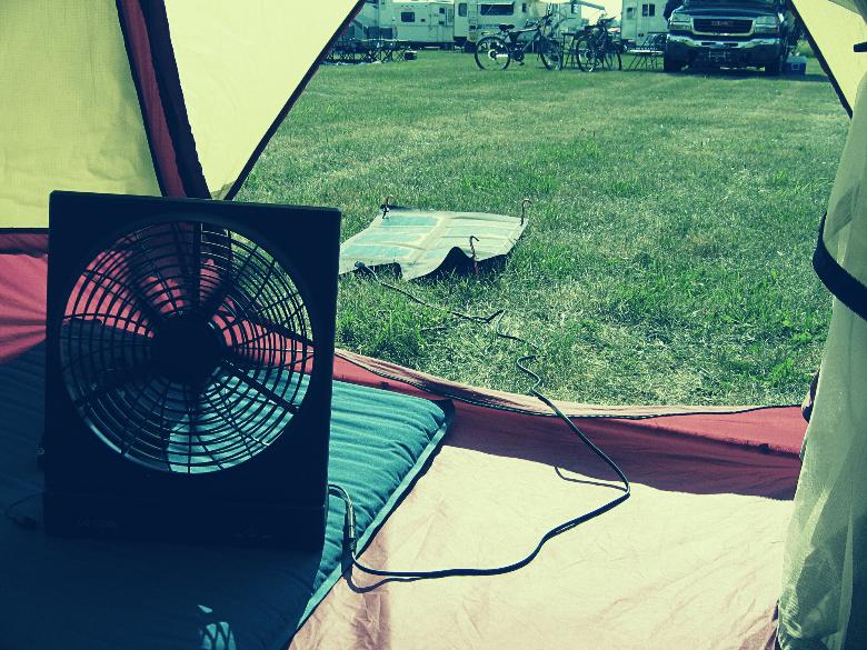 solar fan inside tent