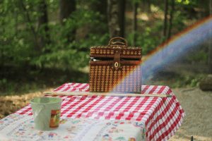 picnic table in the outdoors with rainbow