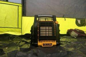 Dewalt camping gas heater inside tent