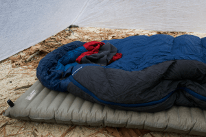 sleeping pad and sleeping bag inside tent