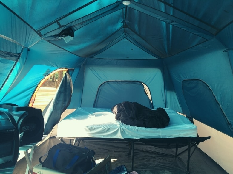 inside tent with cot