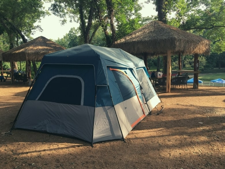 large tent in front of cabana
