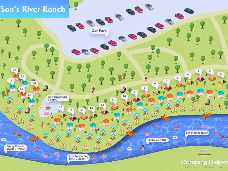 2d map of sons river ranch in Texas