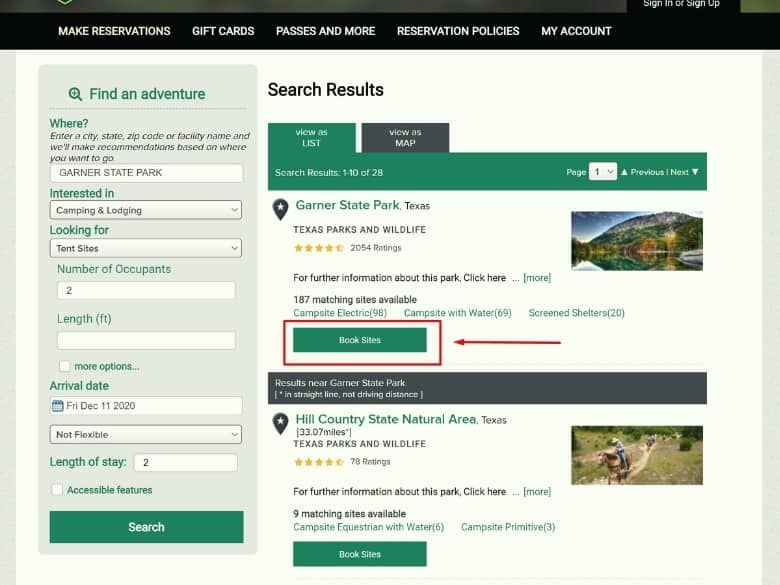 picture of texas state park booking page