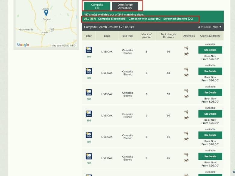 texas state park website screenshot