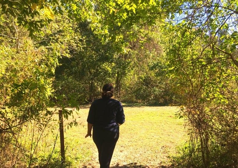 women hiking through stephen f austin trails
