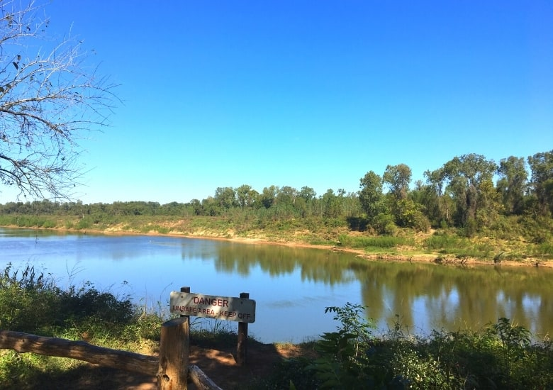 view of the brazos river from sfa sp