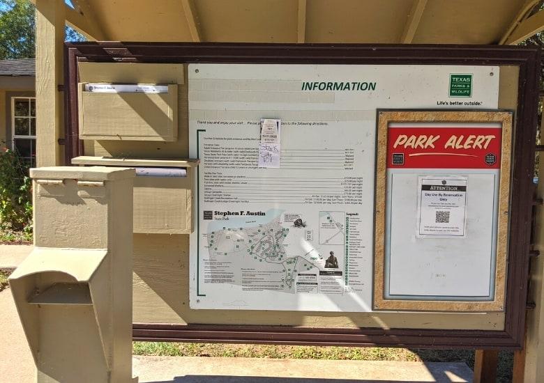 bulletin board at stephen f austin state park