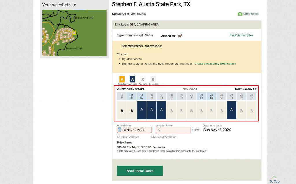 availability for sfa sp tent site