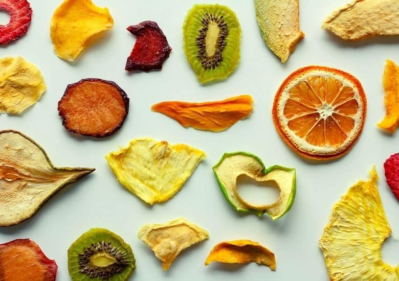 dehyrated oranges, apples, and other fruits