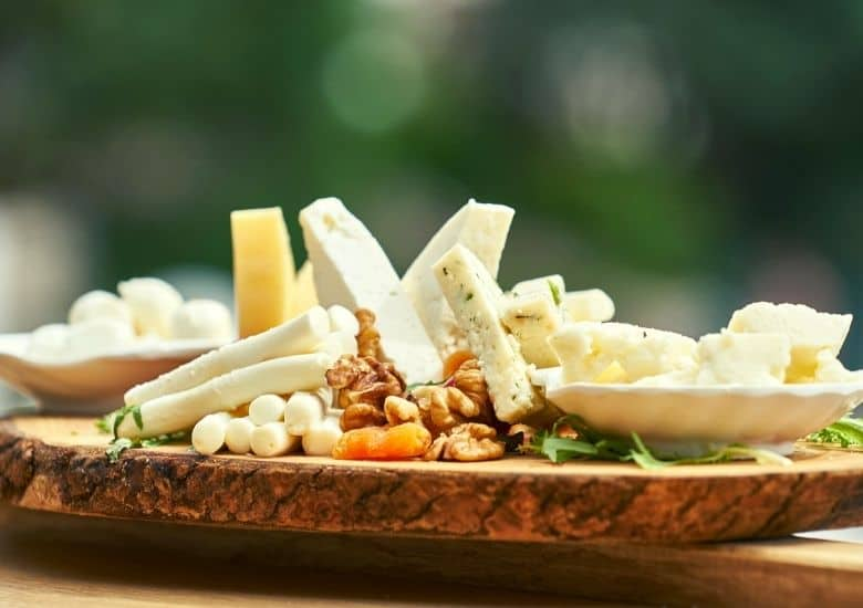 cheeses on board