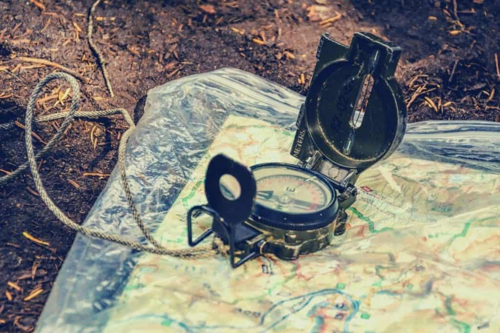 compass on a map outdoors