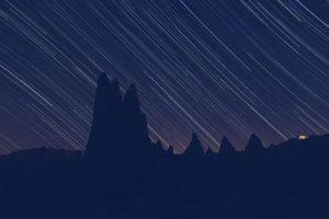 star lines with landscape outline