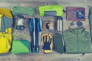 camping gear on table