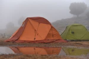 Waterproof tent withstanding rain while camping