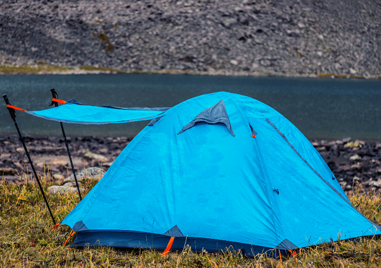 Tent with rainfly awning open
